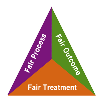 Triangle with 'Fair Process' on one side (white letters on purple), 'Fair Outcome' on the second (white letters on lime green), and 'Fair Treatment' on the third side (white letters on orange).
